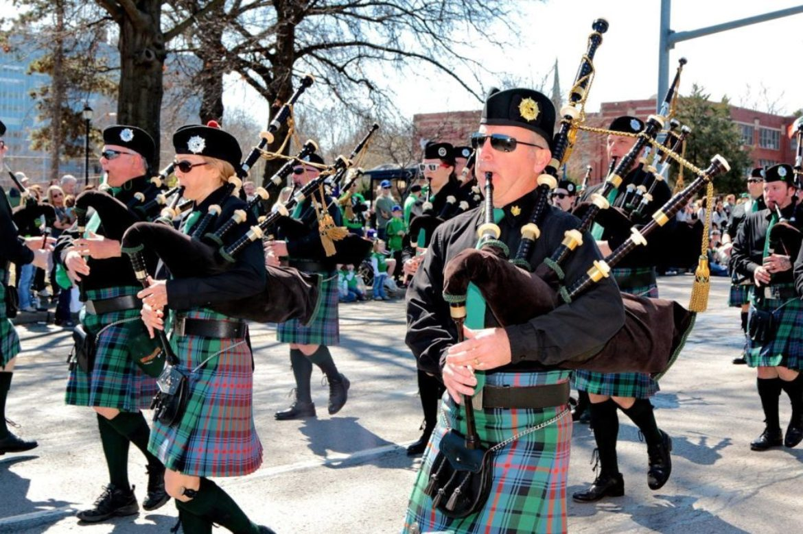 bagpipers marching in parade