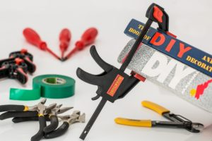 DIY tools: tape, clamps, wire cutters and pliars